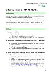 Einführung Tourismus – WPV WS 2013/2014