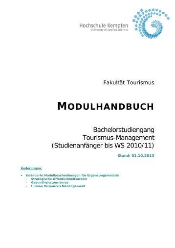 Modulhandbuch BA TO 1 Studinanfänger bis WS 2010/2011