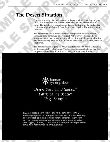 Sample Participant Booklet - Human Synergistics
