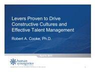 Talent management - Human Synergistics