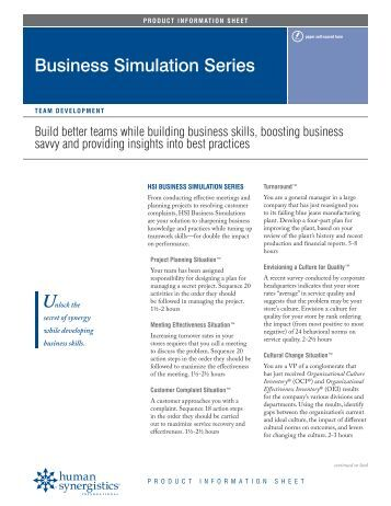 Survival simulation series human synergistics for Business simulator
