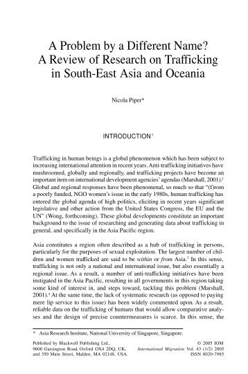 A Review of Research on Trafficking in South-East Asia and Oceania
