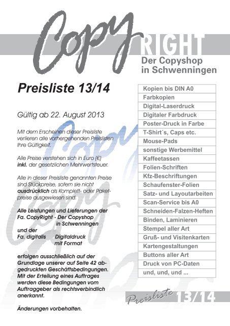 Oder Preisliste Als Pdf Copy Right Der Copyshop In