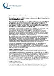 Swiss Quality Award 2013: ausgezeichnete Qualitätsarbeiten ... - FMH