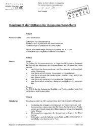 Stiftungsreglement - Stiftung für Konsumentenschutz
