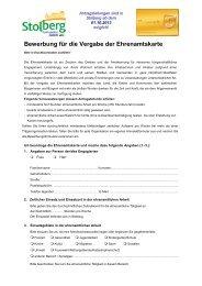 Bewerbung Ehrenamtskarte Stolberg