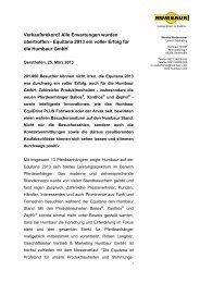 Pressemitteilung Messenachbericht Humbaur auf der Equitana 2013
