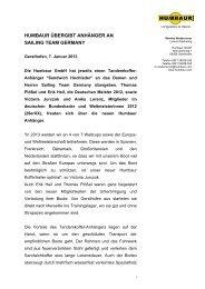 HUMBAUR ÜBERGIBT ANHÄNGER AN SAILING TEAM GERMANY