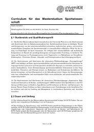 Curriculum für das Masterstudium Sportwissen- schaft - Senat