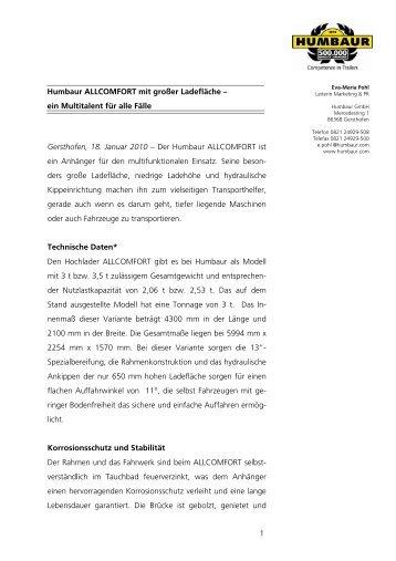 1 Humbaur ALLCOMFORT mit großer Ladefläche – ein Multitalent ...