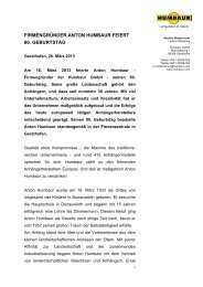FIRMENGRÜNDER ANTON HUMBAUR FEIERT 80. GEBURTSTAG