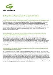 Stellungnahme zu Fragen zur Zukunft des Sports: Die Grünen