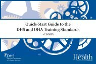 Quick-Start Guide to the DHS and OHA Training Standards