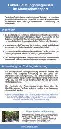 Der Flyer Laktat-Leistungsdiagnostik im Mannschaftssport ... - PREDIA