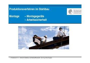 Produktionsverfahren im Stahlbau Montage – Montagegeräte ...