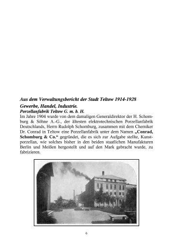 Aus dem Verwaltungsbericht der Stadt Teltow 1914-1928 Gewerbe ...