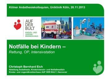 Notfälle bei Kindern - Uniklinik Köln