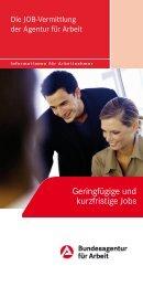Die JOB-Vermittlung der Agentur für Arbeit: Geringfügige und ...