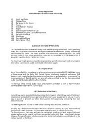 Library Regulations The Governance School Foundation Library § 1 ...