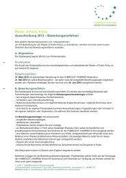 Master of Public Policy Ausschreibung 2012 – Bewerbungsverfahren