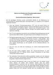 Memorandum Chancen und Risiken einer Finanztransaktionssteuer