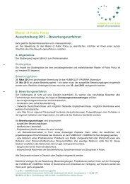 Master of Public Policy Ausschreibung 2013 – Bewerbungsverfahren