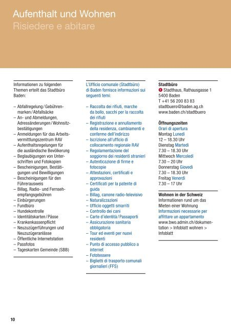 Informazioni per i nuovi residenti, Italienisch - Stadt Baden