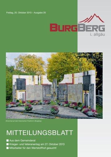 Burgberger Mitteilungsblatt Nr. 20/2013