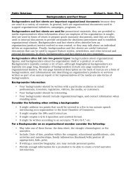 Public Relations Michael L. Kent, Ph.d. Backgrounders and Fact Sheet