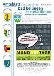 Freitag, 7. Juni bis Sonntag, 9. Juni 2013 - Gemeinde Bad Bellingen