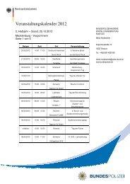 Veranstaltungskalender 2. Halbjahr 2012 - Bundespolizei