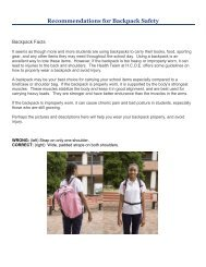 Recommendations for Backpack Safety