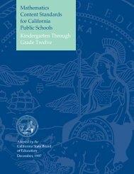 Math Content Standards for California Public Schools, K-12