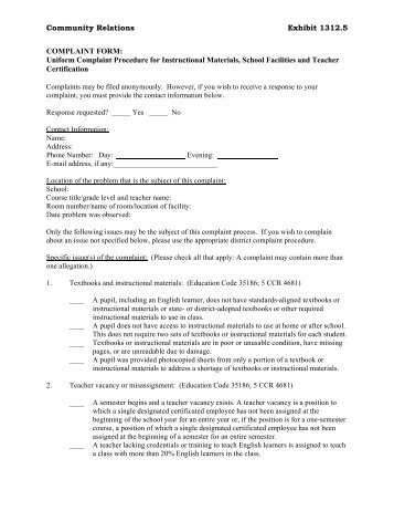 Complaint Form - Humboldt County Office of Education