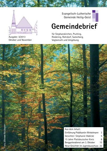 Gemeindebrief Herbst 2013 - Kirchengemeinde Stephanskirchen