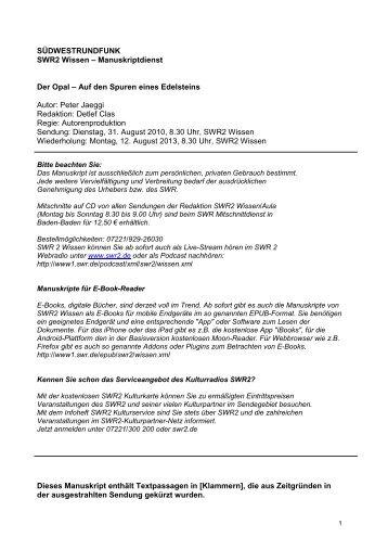 SWR2 Wissen Der Opal – Auf den Spuren eines ... - Südwestrundfunk