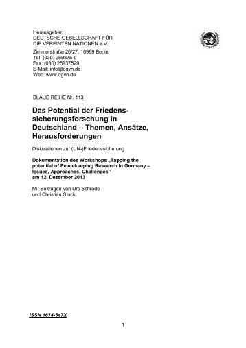 Das Potential der Friedens- sicherungsforschung in Deutschland ...