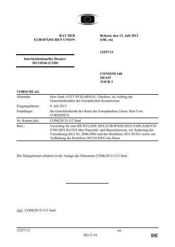 12257/13 - Öffentliches Register der Ratsdokumente - Europa