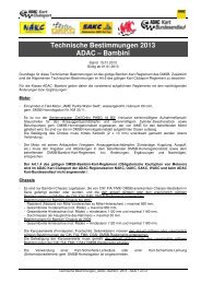 Technische Bestimmungen 2013 ADAC – Bambini - ADAC Motorsport