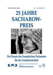 25 JAHRE SACHAROW- PREIS - European Parliament - Europa