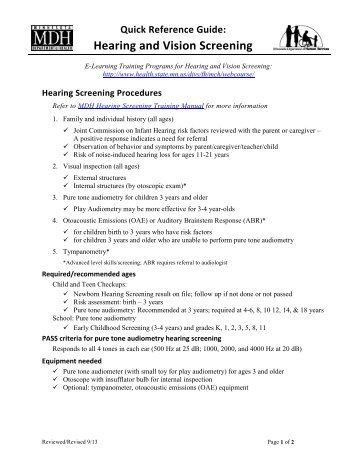 Quick Reference Guide: Hearing and Vision Screening 2013