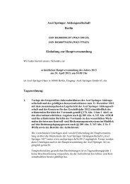Einladung zur und Tagesordnung der ordentlichen ... - Axel Springer