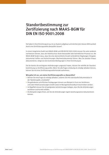 Standortbestimmung Zur Zertifizierung Nach Maas Bgw Fã¼r Din En