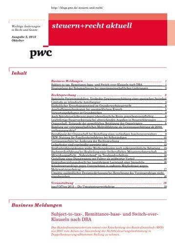 steuern_recht_aktuell_Ausgabe5_2013_Oktober2013 - PwC Blogs
