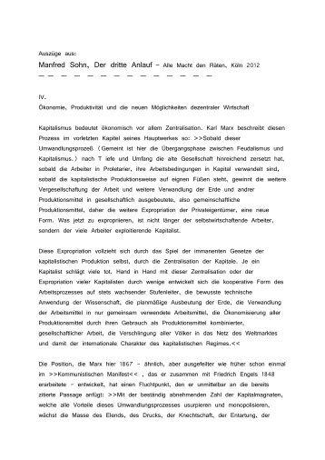 Auszüge aus: Manfred Sohn, Der dritte Anlauf – Alle Macht den ...