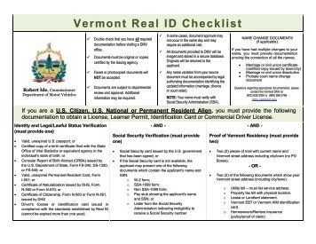 Vermont Real ID Checklist - Vermont Department of Motor Vehicles