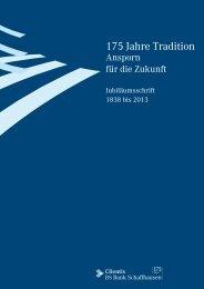 Jubiläumsschrift 175 Jahre Clientis BS Bank Schaffhausen