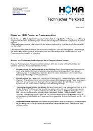 Merkblatt - Einsatz von HOMA Pumpen am Frequenzumrichter