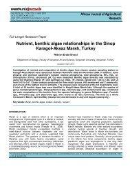 Nutrient, benthic algae relationships in the Sinop Karagol-Aksaz ...