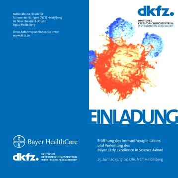 Eröffnung des Immuntherapie-Labors und Verleihung des Bayer ...